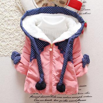 Розничная 2015 новорожденных девочек рождество шляпы зимнее пальто хлопка-ватник куртка пальто и куртки зима мода кролика детей новорожденных девочек одежда