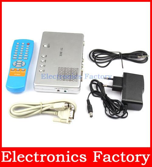 Universal External CRT TV AV Video Receivers Signal To Digital PC Computer Laptop External VGA LCD Monitor Box(China (Mainland))