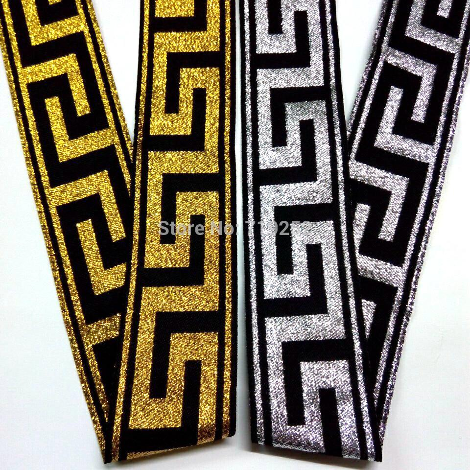 4cm 40mm 1-5/8'' laciness curtain gold silver national jacquard webbing embroidery woven folk greek key classic filigree ribbon(China (Mainland))