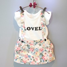 wholesale(5pcs/lot)- 2016 new summer white letter printed sleeveless T-shirt  + flower shorts  clothes set for child girl