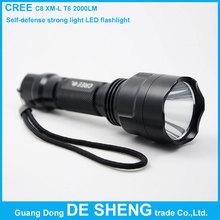 C8 CREE XM-L T6 2000 Lumens High Power Torch LED Metal Flashlight, SOS, Five-speed dimming, Self-defense strong light flashlight(China (Mainland))