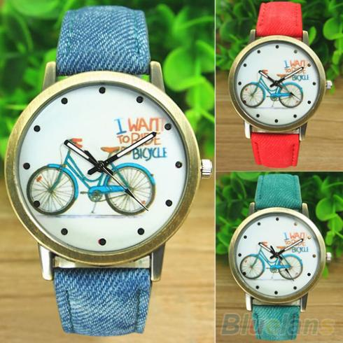 Women's Fashion Bike Bronze Jean Fabric Band Quartz Analog Wrist Watch 1O5X - BlueSky- store