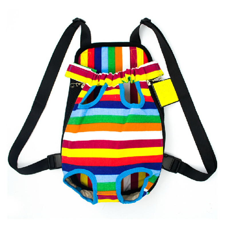 2015 Brand Summer Style Pet Carrier Backpack Women Men Carrying Out Pet Dogs Straps Rainbow Stripes Dog Bag Bolsa Carriers Bags(China (Mainland))