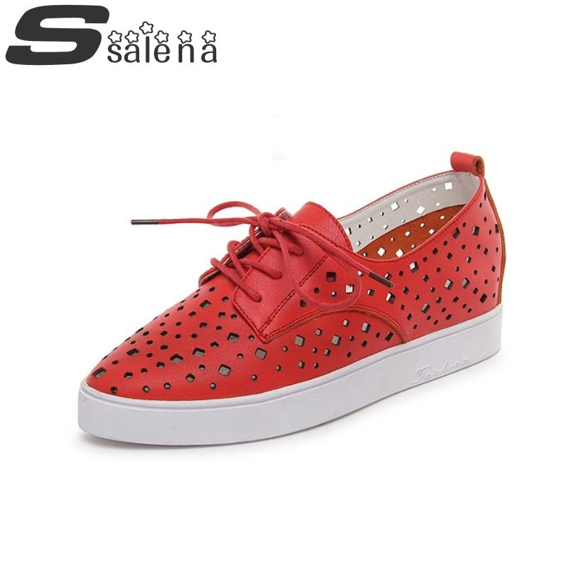 Women Flat Shoes Shallow Mouth Single leather European hollow breathable flat single shoes Oxford size35-40 #C365