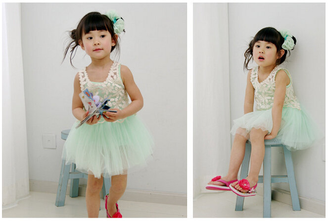 Wholesale-Summer Dress Set Kids Girl's Sleeveless Sling Dress+Lace Top,Girl's Dresses,Kids Summer Dresses free shpping