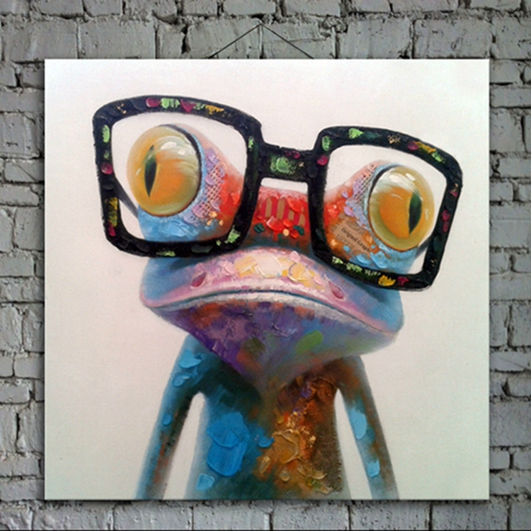 New Pictures Cartoon Oil Painting on Canvas Abstract Animal Wall Art for Home Decoration 1pc Happy Frog 5cm strecth no frame(China (Mainland))