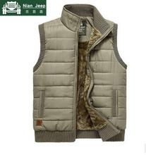 NIANJEEP Brand 2017 Autumn Winter Men Coat Warm Sleeveless Jacket Casual Men Vest Coat Fleece Army Green Waistcoat(China)