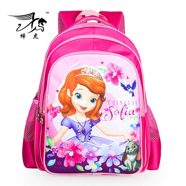 Розовый прекрасный мультфильм принцесса софия девушки школьные сумки детей дети рюкзак ...