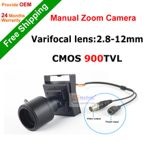 "Hot sale! 900tvl vari-focal lens mini camera 2.8~12mm adjustable lens 1/4""CMOS sensor free shipping"