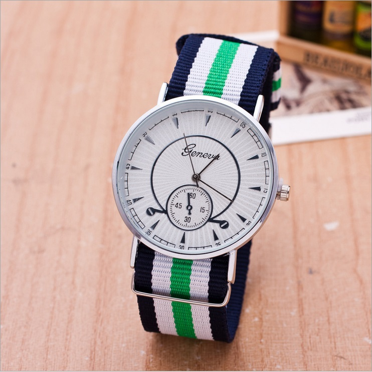 Fashion Geneva Style Male Watch Popular Colorful fabric Strap Quartz Watches Simple Nylon Wristband 5084  -  Coolcastle store