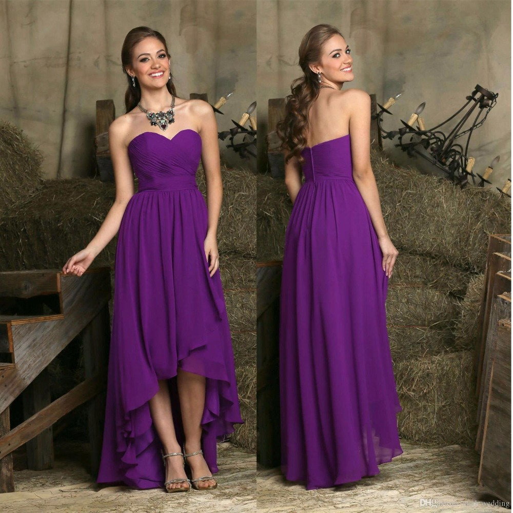 Dresses high low chiffon sweetheart floor length party dress