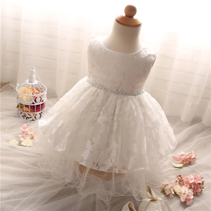 1 Year Birthday Dress White Lace Summer Baby Girl Baptism Dress Infant Princess Bow Sleeveless Party Gowns Dresses Baby Clothing(China (Mainland))