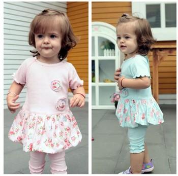 Free/Drop Shipping Short Sleeve Kids Clothing Blue/Pink Baby Girl Garment Summer Wear 2PCS Clothes Set  Small Flower Coat+ Pants