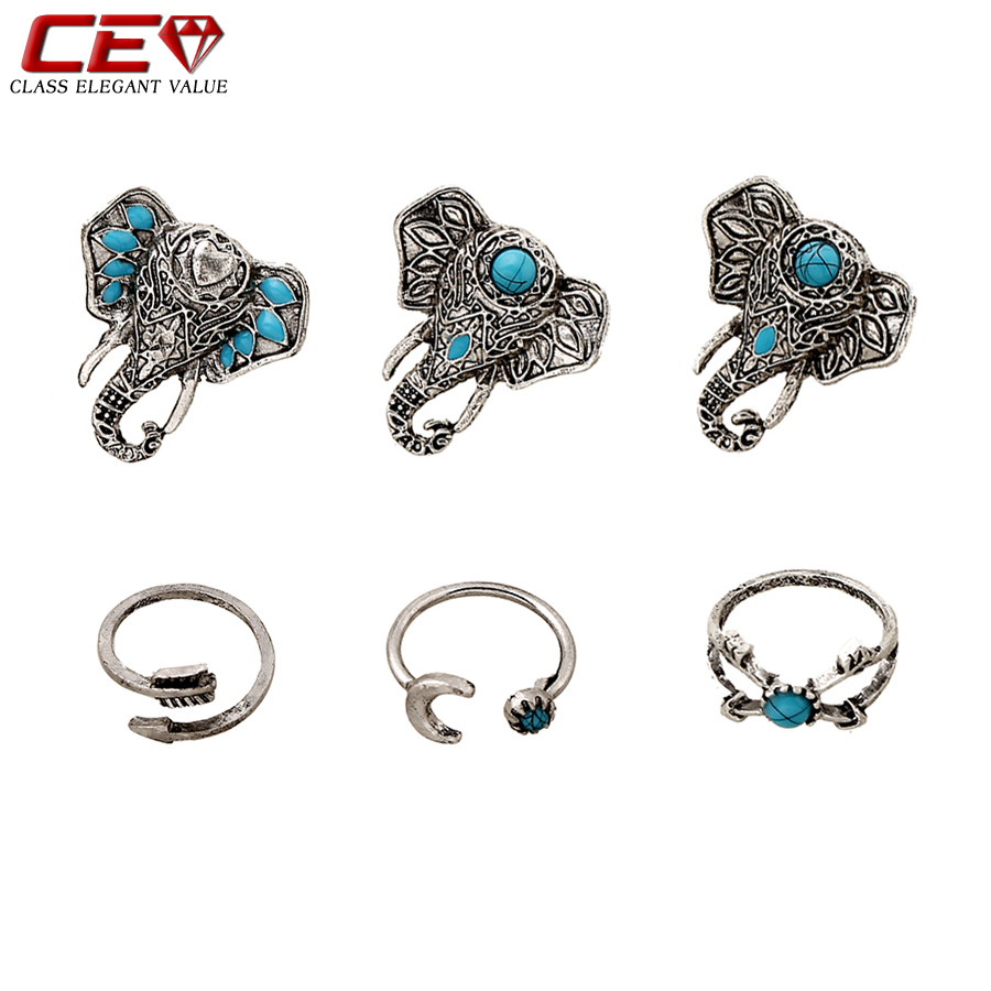 6pcs/set Love Elephant Rings For Women Vintage Silver Moon Men Cuff Ring Jewelry Sets Bague Femme Anillos Aneis Anelli Bijoux(China (Mainland))