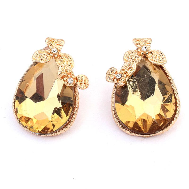 Preferred Atmosphere Shining Imitation Diamond Summer Star Two ColorS Fashion Gold Plated TearDrop Stud Earrings P105110 P105109(China (Mainland))