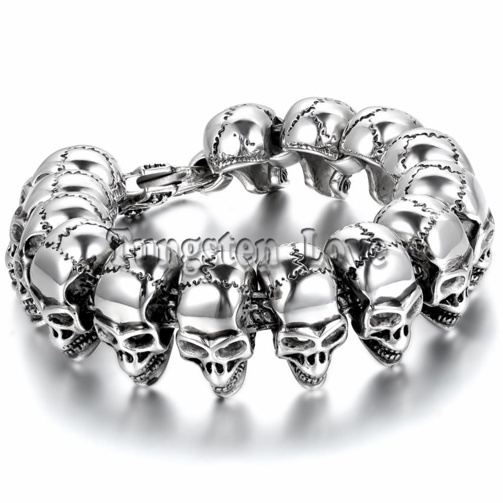 21.5cm Punk Large Gothic Skull Biker Stainless Steel Bracelet mens bracelets 2015 New arrived pulseira masculina Silver Color - Tungsten Love Jewelry Store store