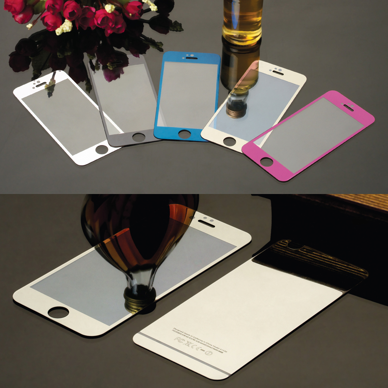 2pcs/lot Front+Back Color Mirror Effect Tempered Glass Protective Film For iPhone 4 4S 5 5S 6 6S 6Plus Cover Screen Protector(China (Mainland))