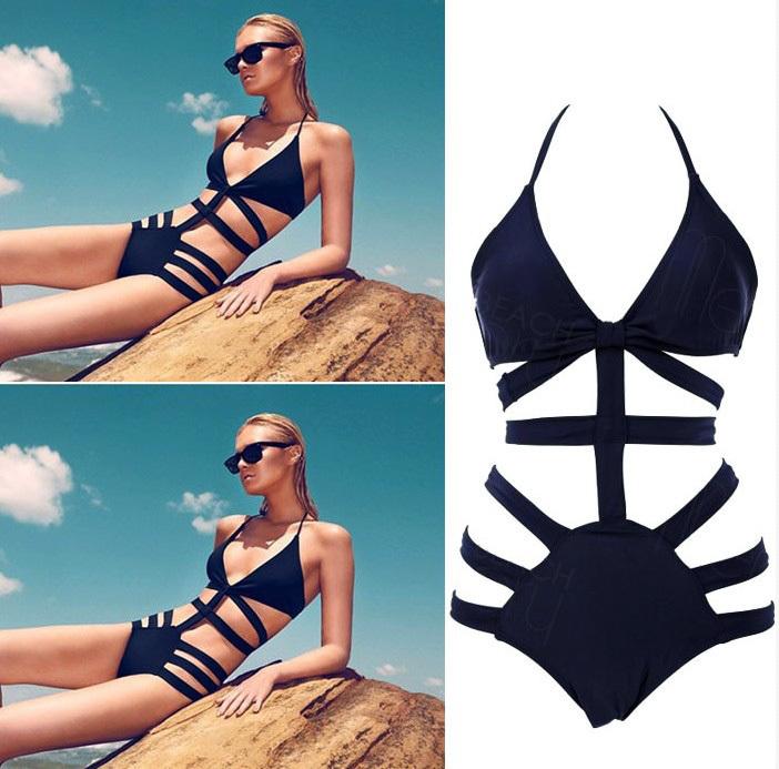 Brand Victoria Swimwear For Women,High Waist Swimsuit Bikinis,Sexy Monokini Bathing Suit, Womens Bandage Swimsuit Black Swimwear(China (Mainland))