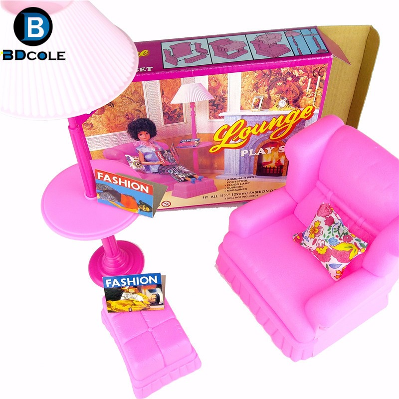 BDCOLE Lounge Play set in Residing Room Faux Play Toys for Barbie Dollhouse together with Couch Vertical Lamp Foot Sofa Pillow