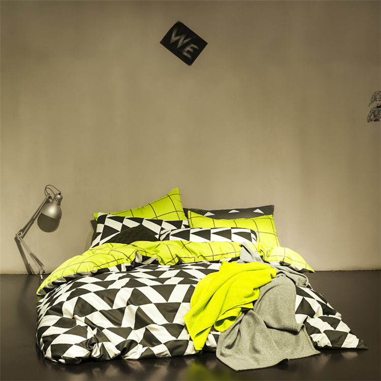 Smiple style bedding set black&white plaid quilt cover yellow grid bed sheet bedspreads cotton bedclothes twin/queen bed linen(China (Mainland))
