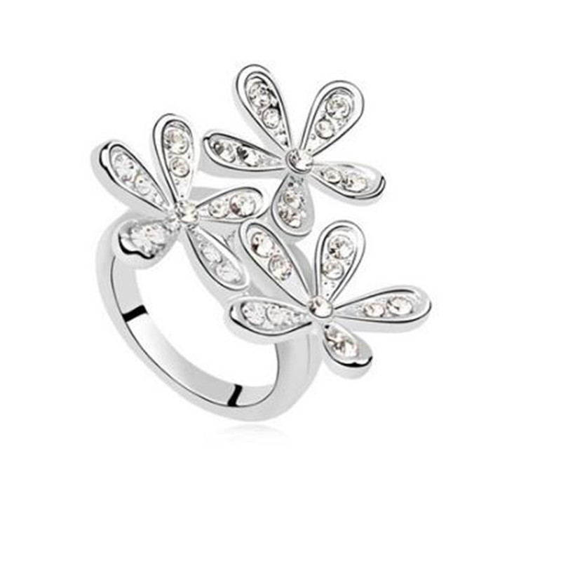 Opal Double Daisy Flower Adjustable Ring Cute Brand Design Rhinestone Hot Sale Rings For Women Fine Jewelry Anel jewelry(China (Mainland))