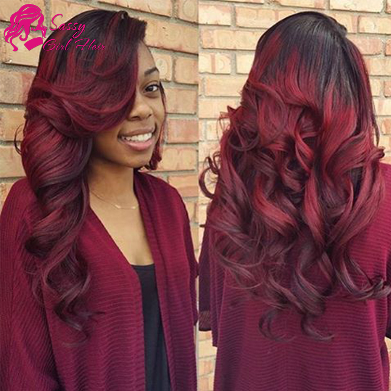1B Burgundy Brazilian Body Wave Queen Hair Two Tone Human Hair Weave 3Pcs Black Red Ombre Burgundy Brazilian Hair Weave Bundles(China (Mainland))