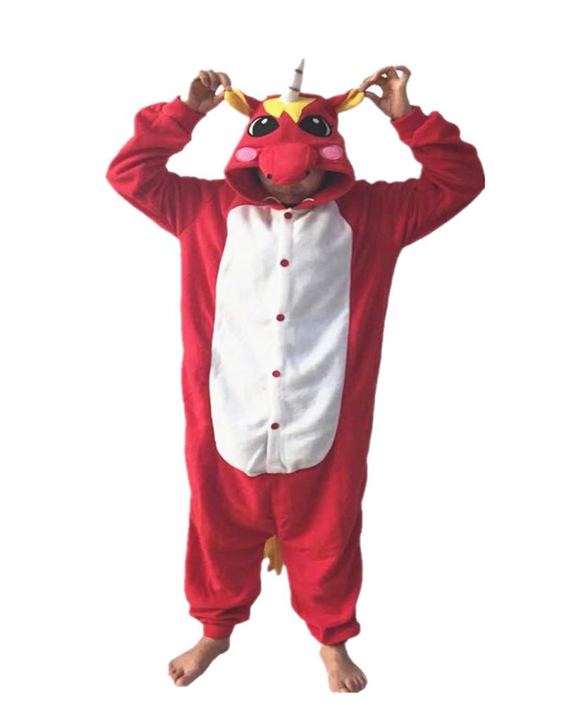 Red Mythological Animals Adult Ladies Onesie Novel Costumes Chinese Market Online Nightgowns Women Sleepwear Long Sleeve Size(China (Mainland))