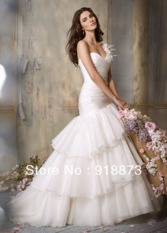 Free shipping sexy 2012 hot sale one shoulder sweep train for Sexy designer wedding dresses
