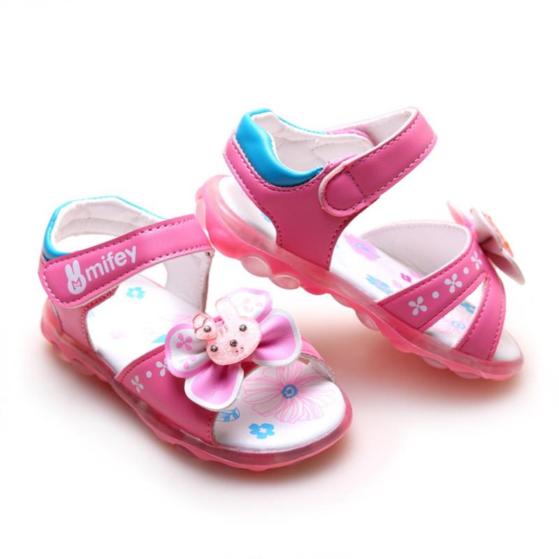 2016 Light Girls Sandals Summer Hook Bow Kids Sandals ...