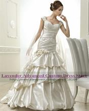 2017 Royal empire luxury satin wedding dress plus size bridal gown made in China robe de mariage vestido de noiva vintage(China (Mainland))