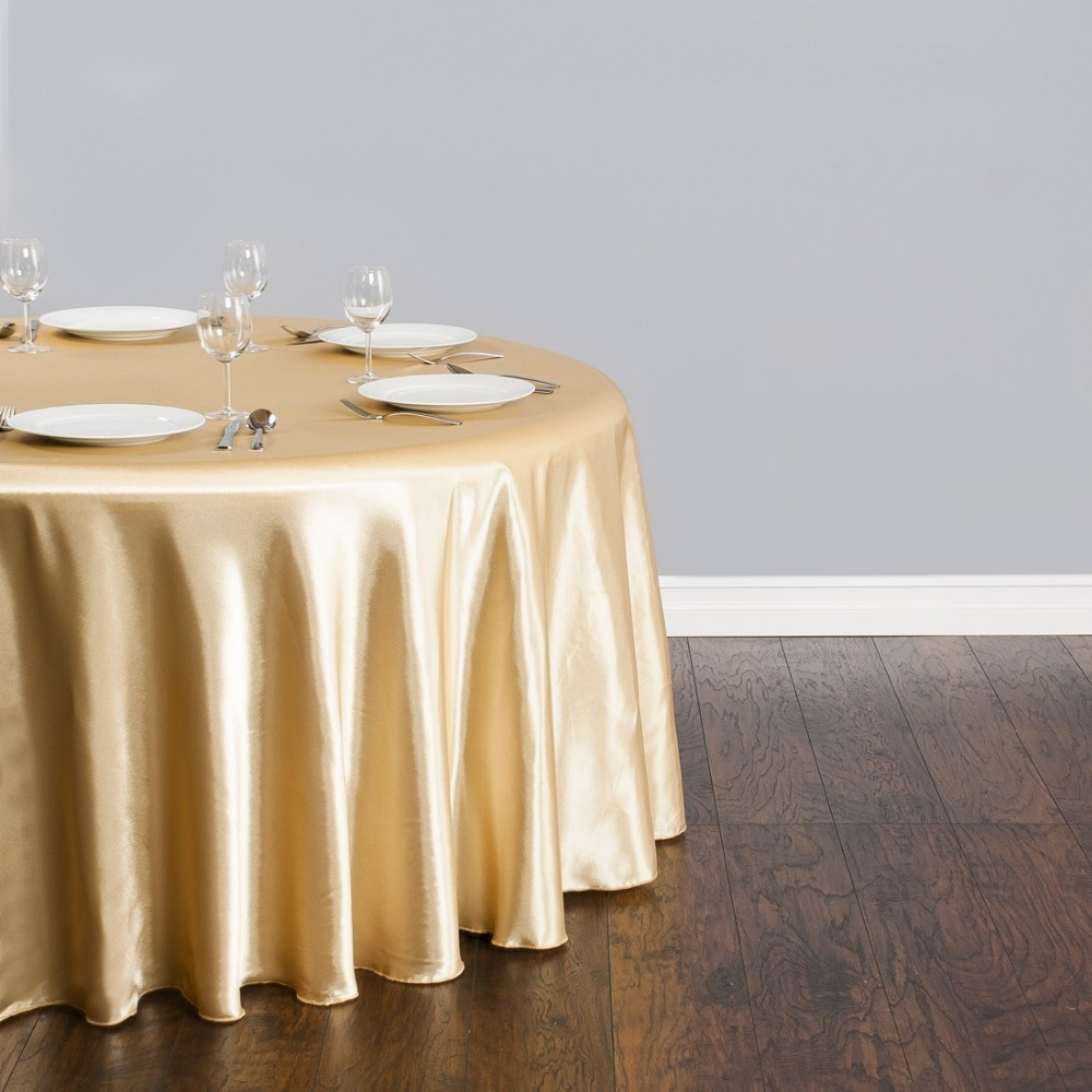 Fedex IE 118 in./300cm Round Satin Tablecloth Gold for Wedding Event Banquet Party, 20/Pack(China (Mainland))