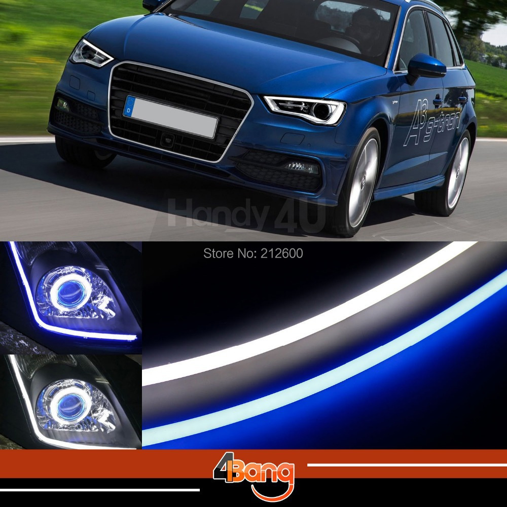 2x 60cm DRL Flexible LED Tube Strip Style Car Headlight Light Blue/White Switchback Fit For A3 A4 Quattro Q7 R8 RS4 TT Quattro(China (Mainland))