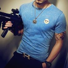 High Quality Cotton Men's T Shirt 2016 Summer Short Sleeve Shirts patchwork Men Slim Fit emoji Tees Tops