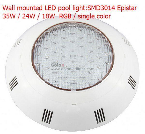 wall mounted LED swimming pool light RGB 18W, SMD3014 higher Lumen ,IP68,PC casing,W/R/G/B/R 2pcs/lot  DHL Fedex free