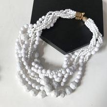 Collier ras du cou tressé en perles acryliques jaune foncé rouge(China)