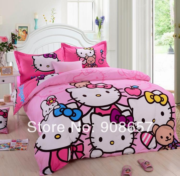 pink beautiful cute hello kitty printed comforters set