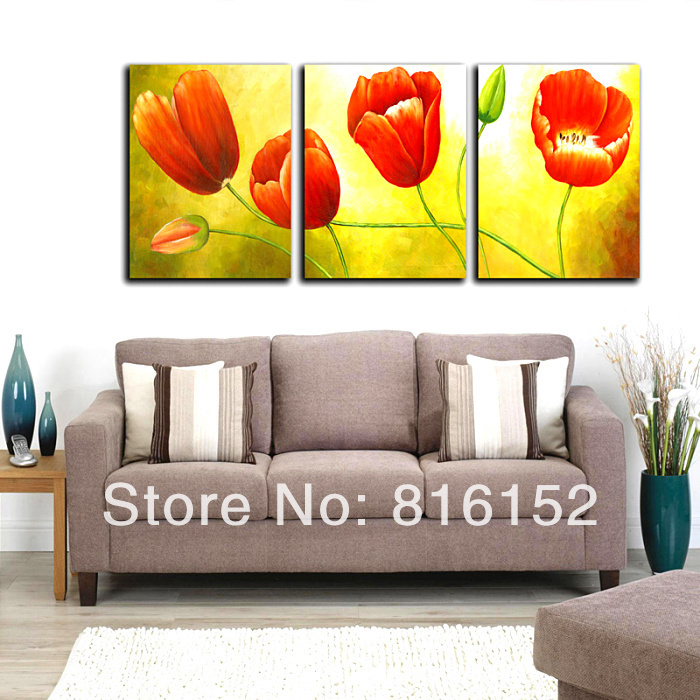 3 piece set red tulip floral picture canvas prints. Black Bedroom Furniture Sets. Home Design Ideas
