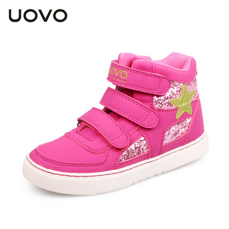 Uovo Brand Bright Leather Kids Tenis Shoes Bling Bling Glitter Decorate Girls Fashion Sport Shoes Mid-cut Star Sneakers Mocassin