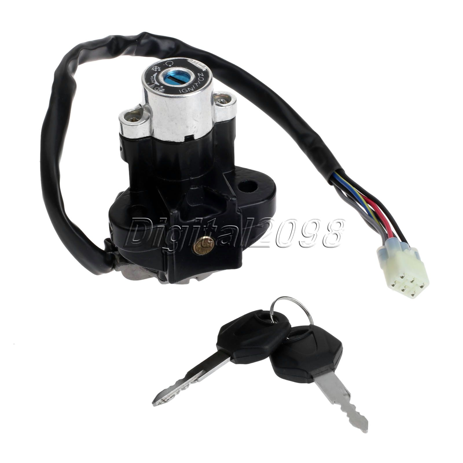 Aluminum Motorcycle Ignition SwitchPitbike Scooter Motorbike Parts cdi Lock with Keys for Suzuki GSXR 600 750 GSX-R600 GSX-R750(China (Mainland))