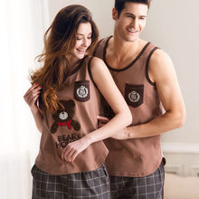 Lovely Bear Couples Pajama Sets 100% Cotton Vest Summer Lovers Pajamas Casual Sleeveless Comfortable Lounge Male Nightgrown(China (Mainland))