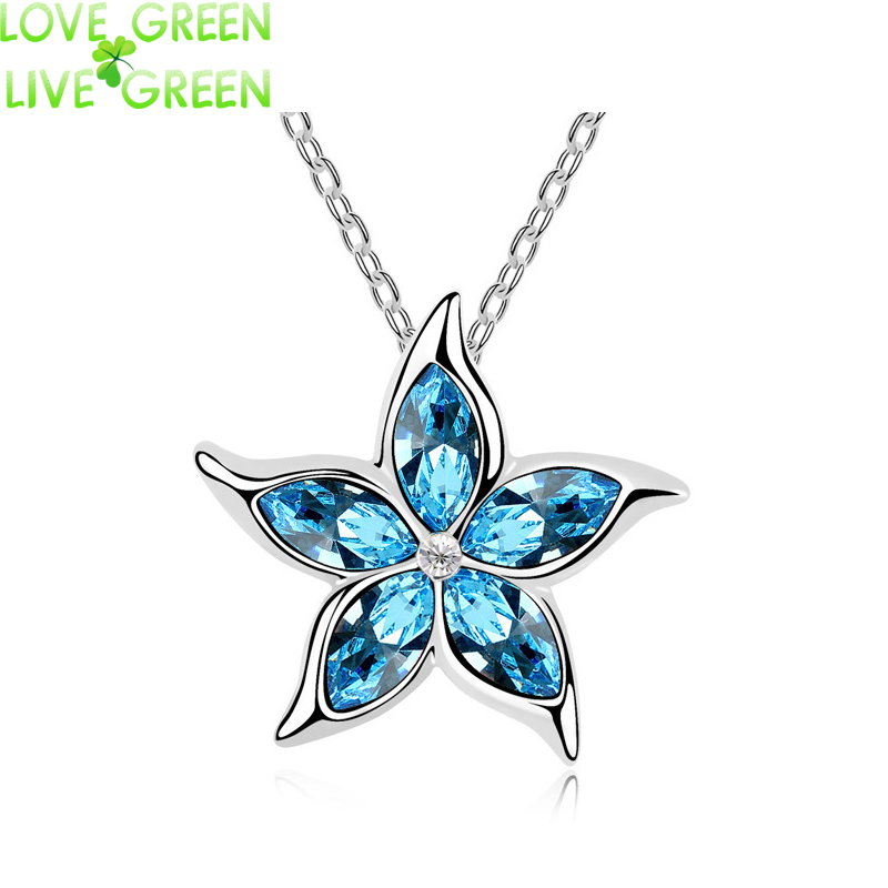2017 new design women accessories party birthday gift Austrian Crystal sea Star Flower Pendant fashion Necklace jewelry 80138