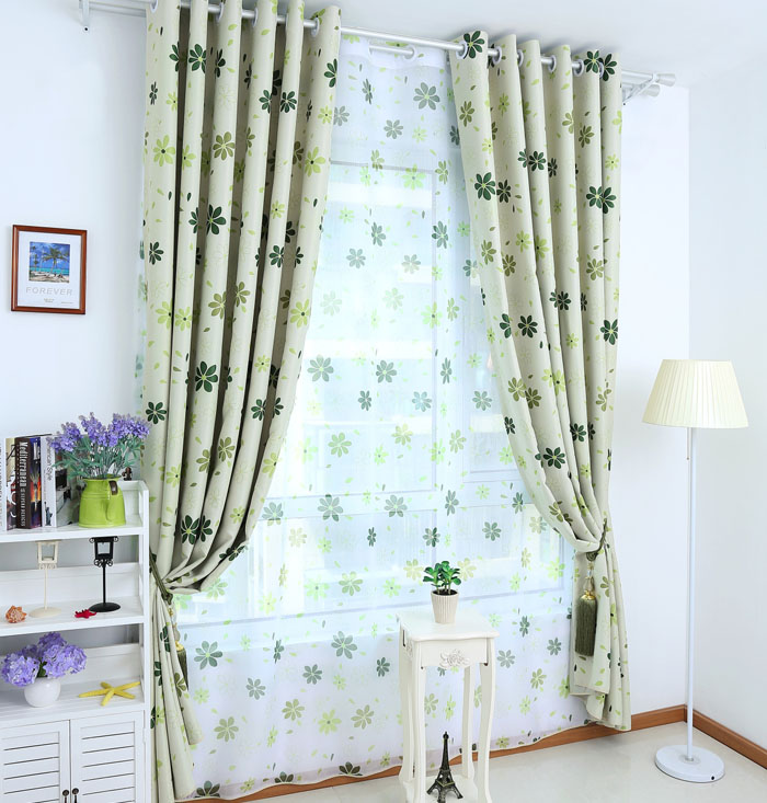 Rustic gem flower whole dodechedron curtain quality curtain fabric finished product green cortinas(China (Mainland))