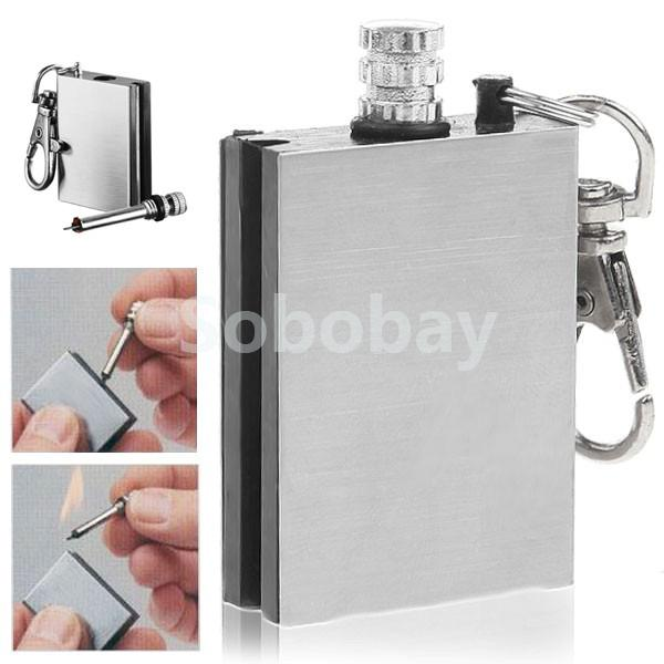 Hot Flint Fire Starter Match Lighter Stainless Steel One Million Time Key Chain Match Survival Kit Wholesale(China (Mainland))
