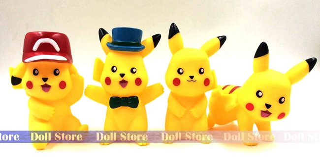 4pcs/lot 10cm Japanese anime figure Pikachu pocket monster Go!action figure collectible model toys for boys girls(China (Mainland))