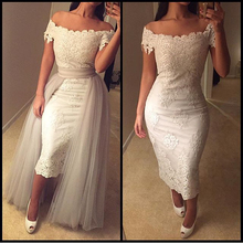 OFF The Shoulder Sheath Short Wedding Dress With Detachable Tail Lace Wedding Gowns Sexy Vestido de Casamento(China (Mainland))
