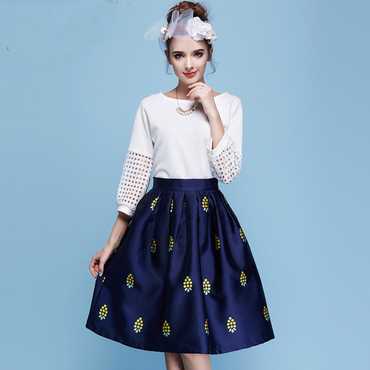 2017 good quality elegant Summer Fashion Skirt Suits Women's two piece Tops + Skirts suits