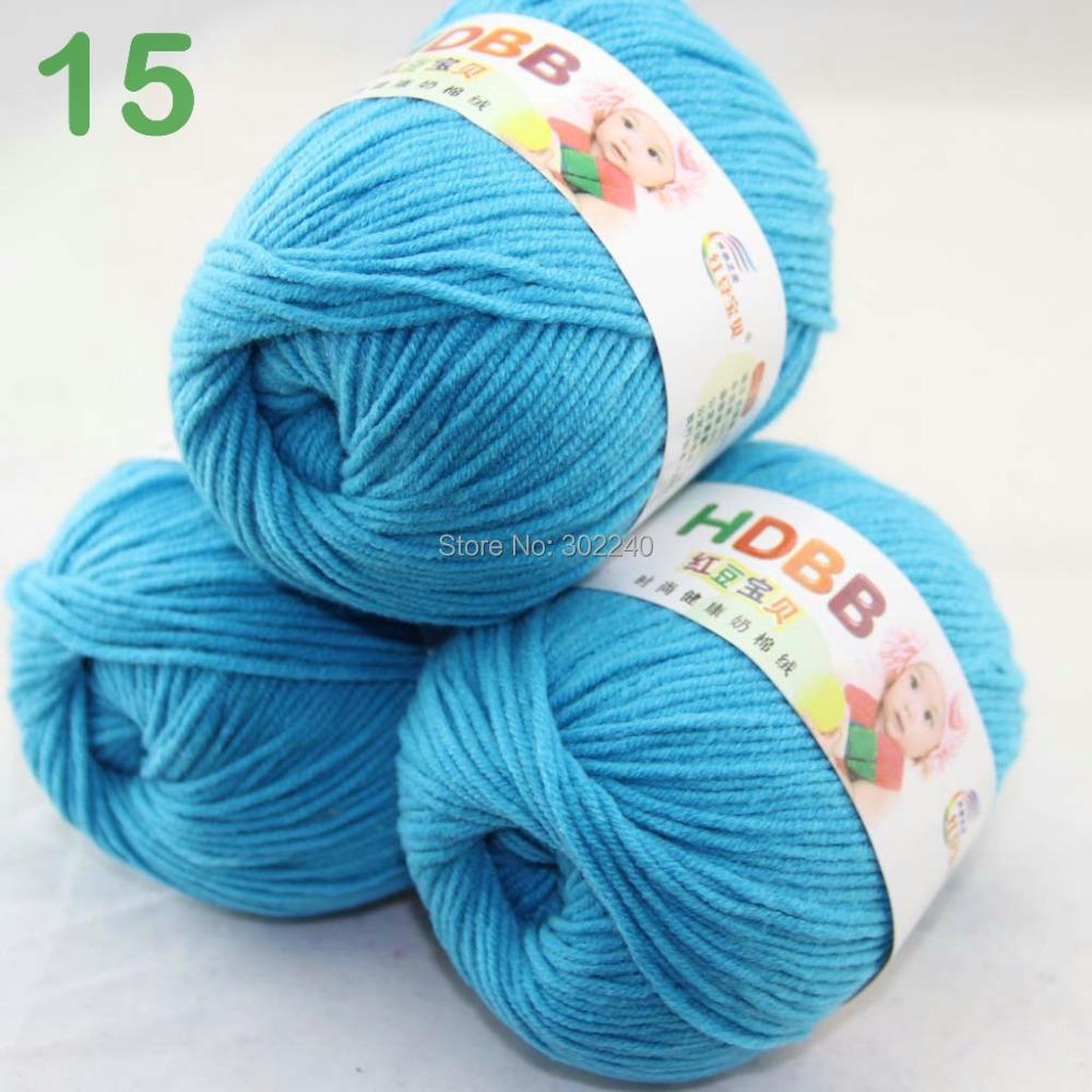 Sale Lot of 3 balls x 50g 60% Cotton Milk protein Velvet Hand knitting Turquoise 7415(China (Mainland))