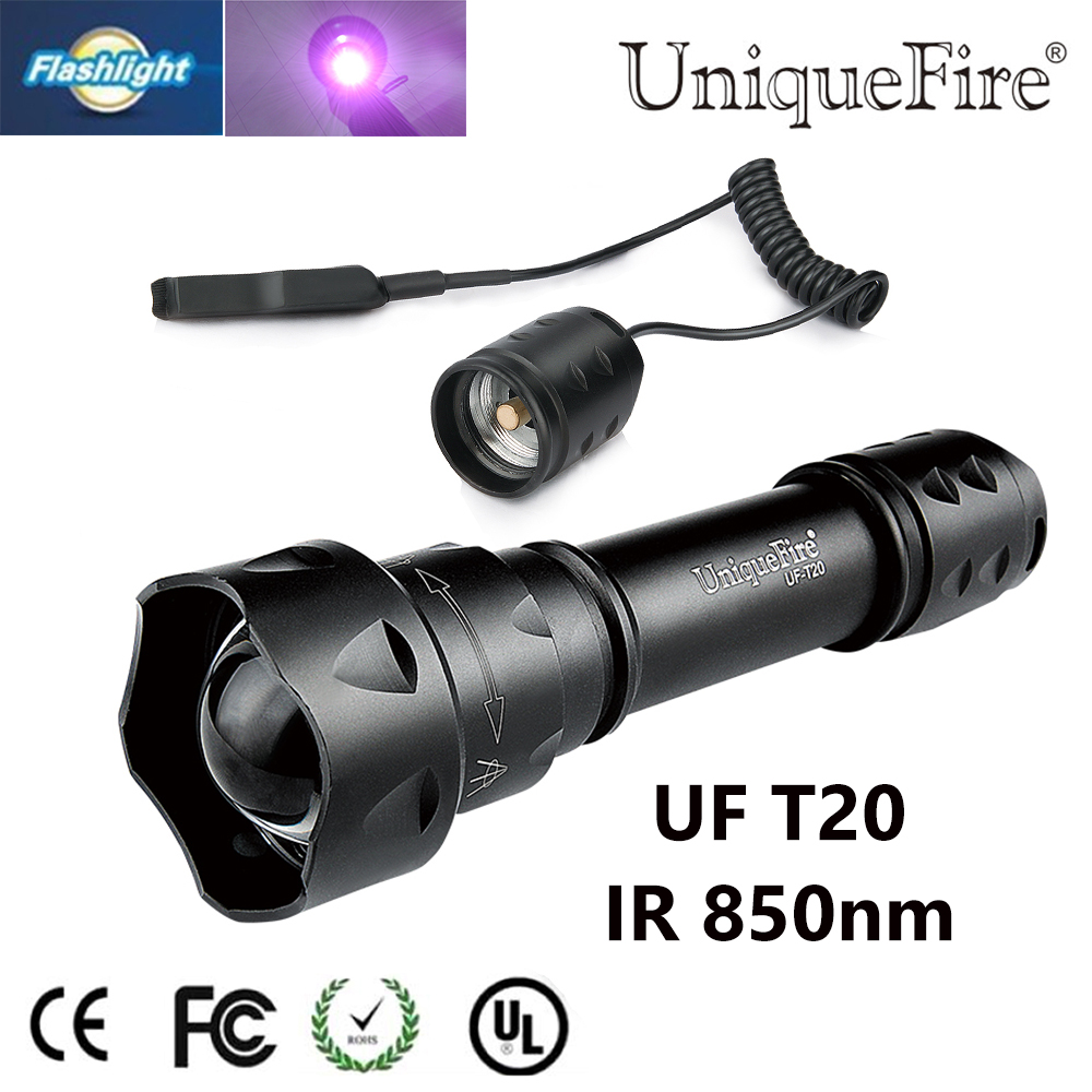 Uniquefire Mini T20 IR 850NM LED 3 Mode Zoomable Flashlight Pressure Switch use with Infrared Light