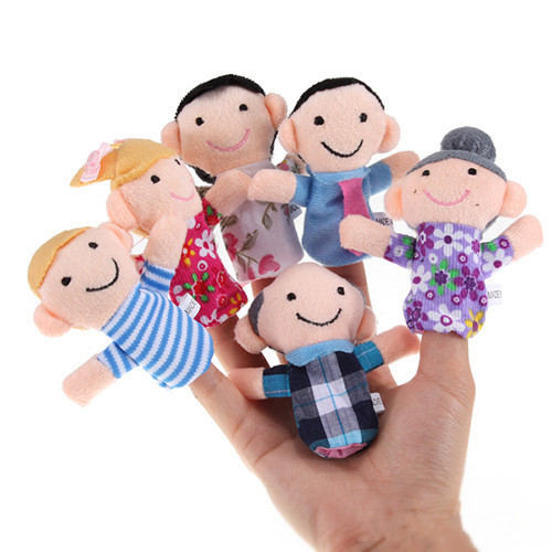 6pcs /lot Unisex Figure Puppet Baby Plush Toy Cartoon Family Fun Play Game Finger Hand Kids learning & education Bonecas Toy(China (Mainland))