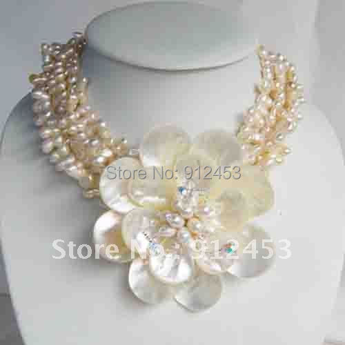 Wired Flower Necklace With Mop Shell Natural Freshwater Pearl Necklace Fashion Jewelry Wholesale New Free Shipping